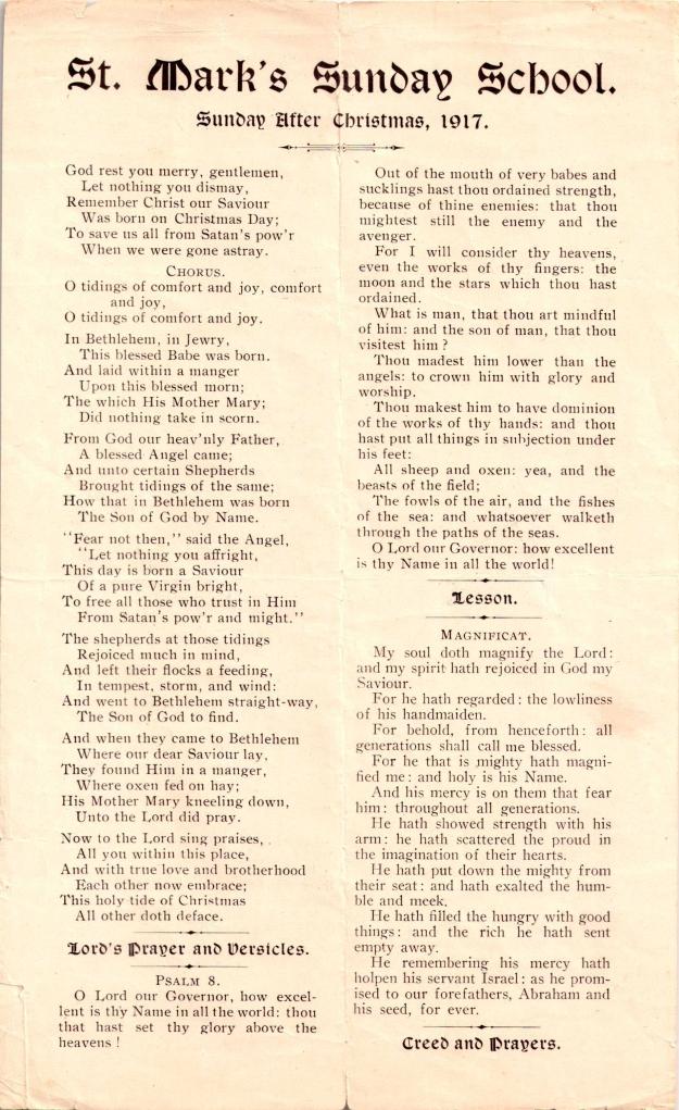 StMarksSundaySchoolSundayafterChristmas1917-1