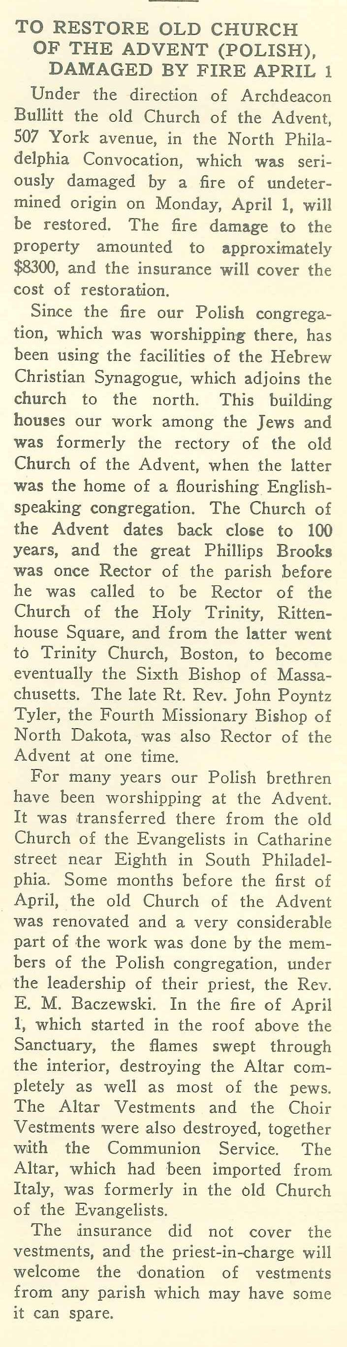 church of the advent philadelphia studies