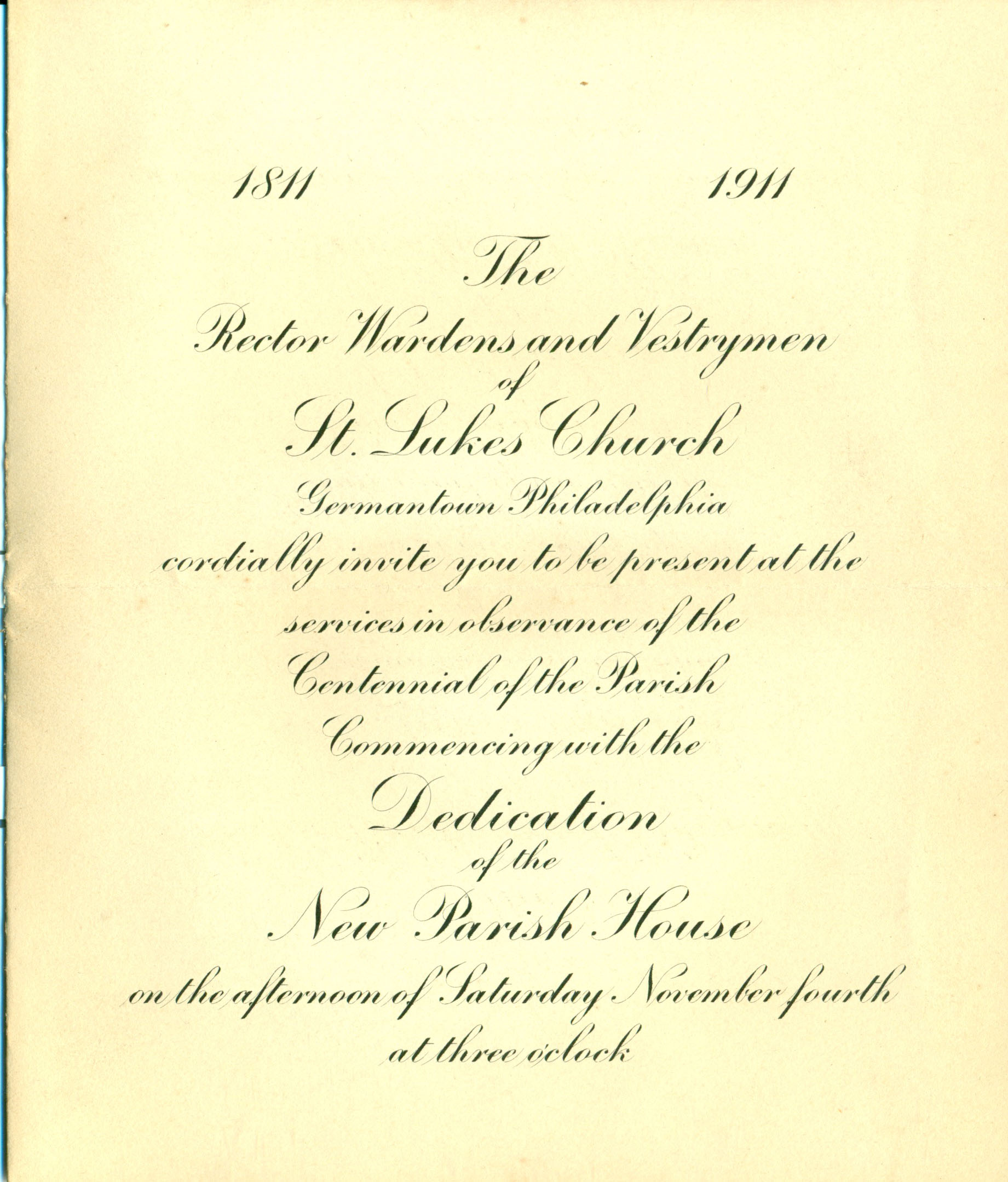 Invitation To The Dedication Of The New Parish House At St Luke S
