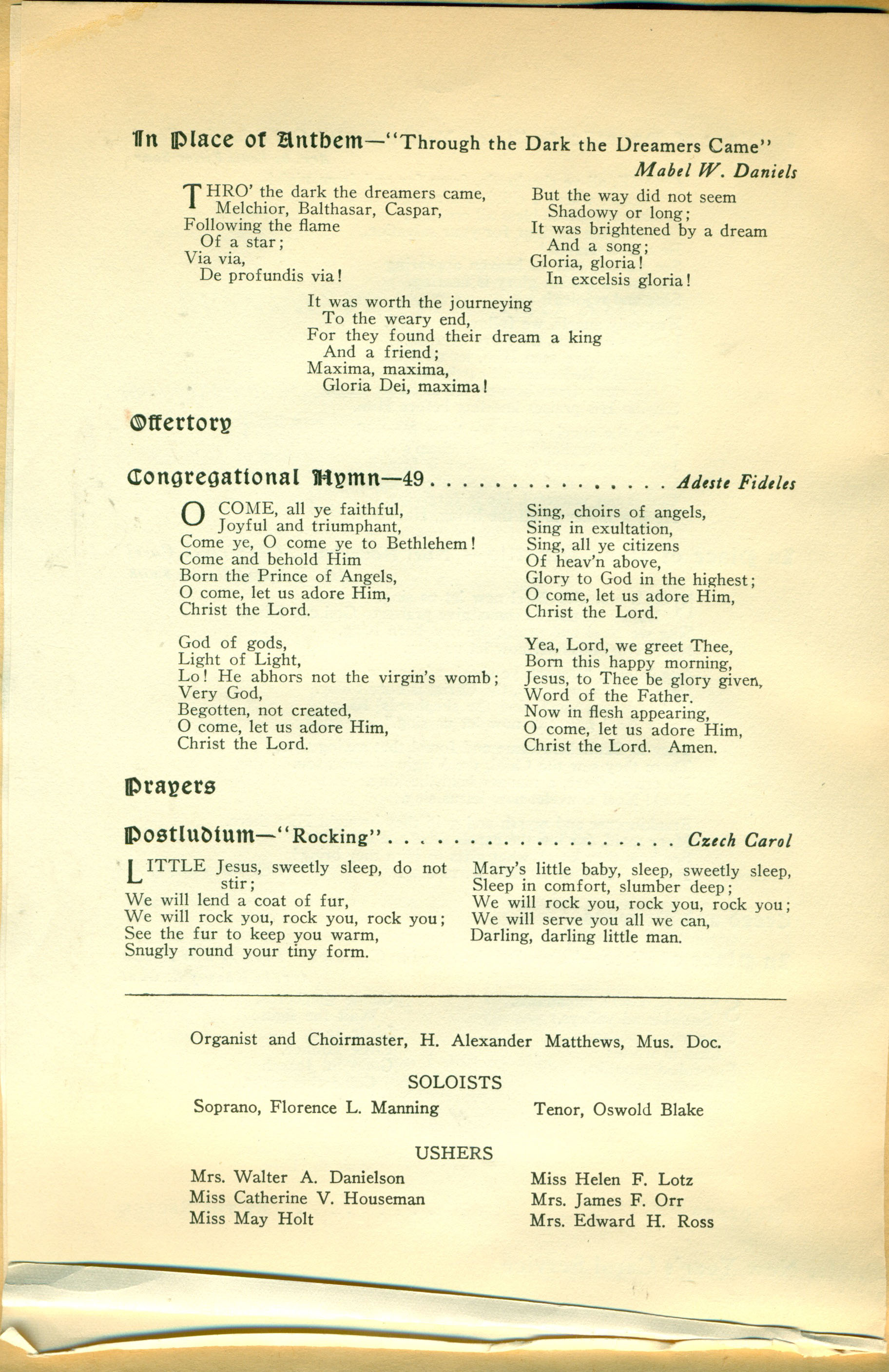 Service Leaflet for Christmas Day at Church of St. Luke and The ...