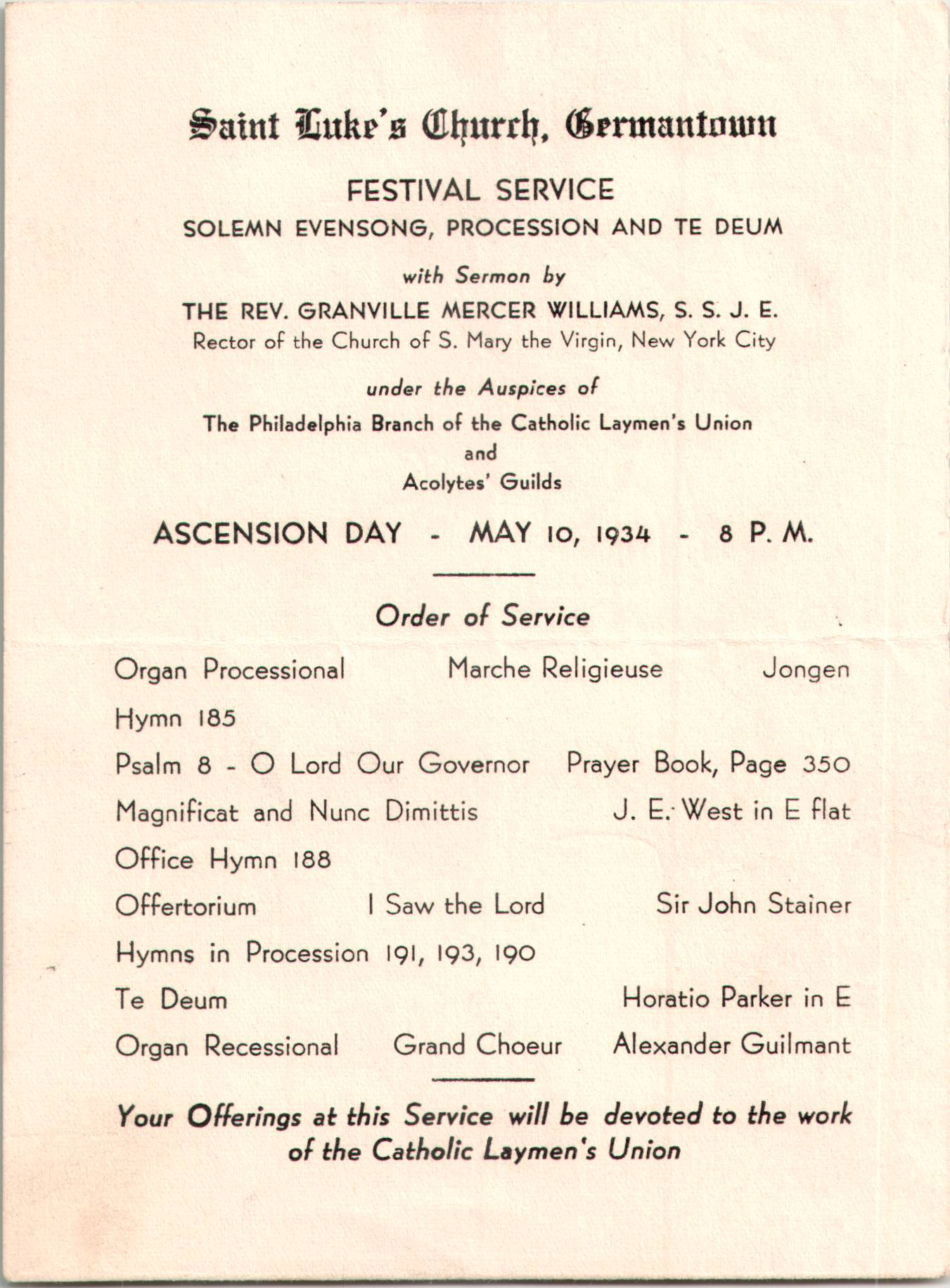 Leaflet for the Ascension Day Festival Service of Solemn