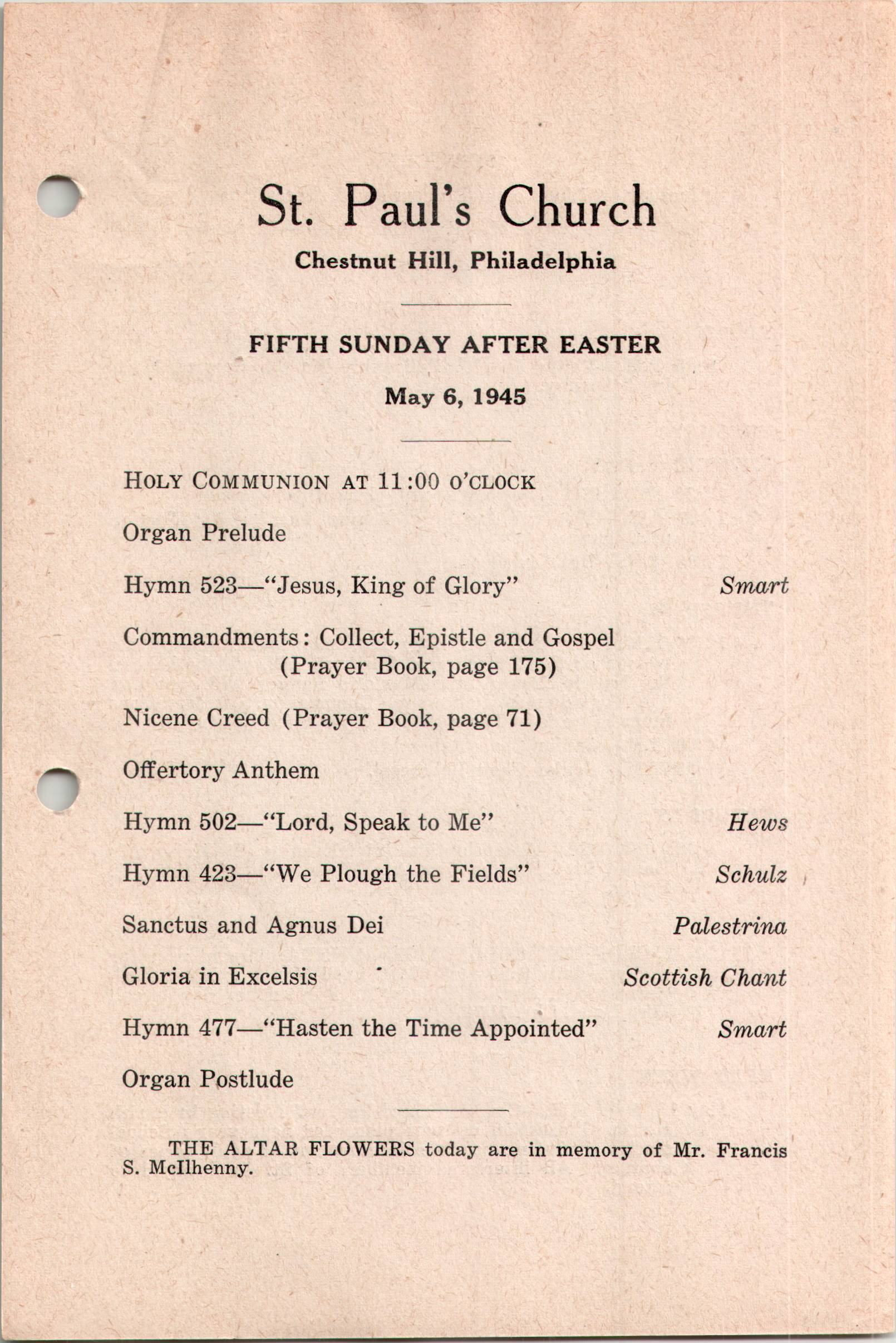 Service Leaflet for the Fifth Sunday after Easter at St  Paul's Church