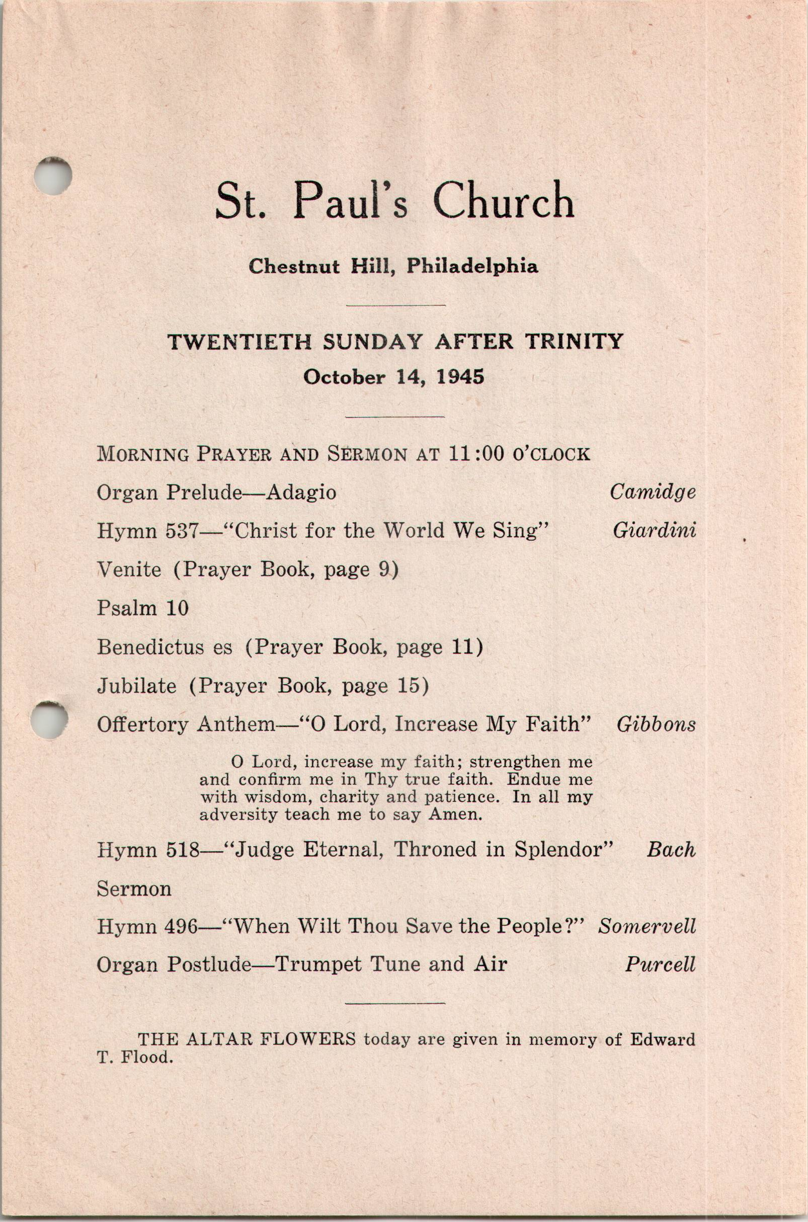 Service Leaflet for the Twentieth Sunday after Trinity at St  Paul's