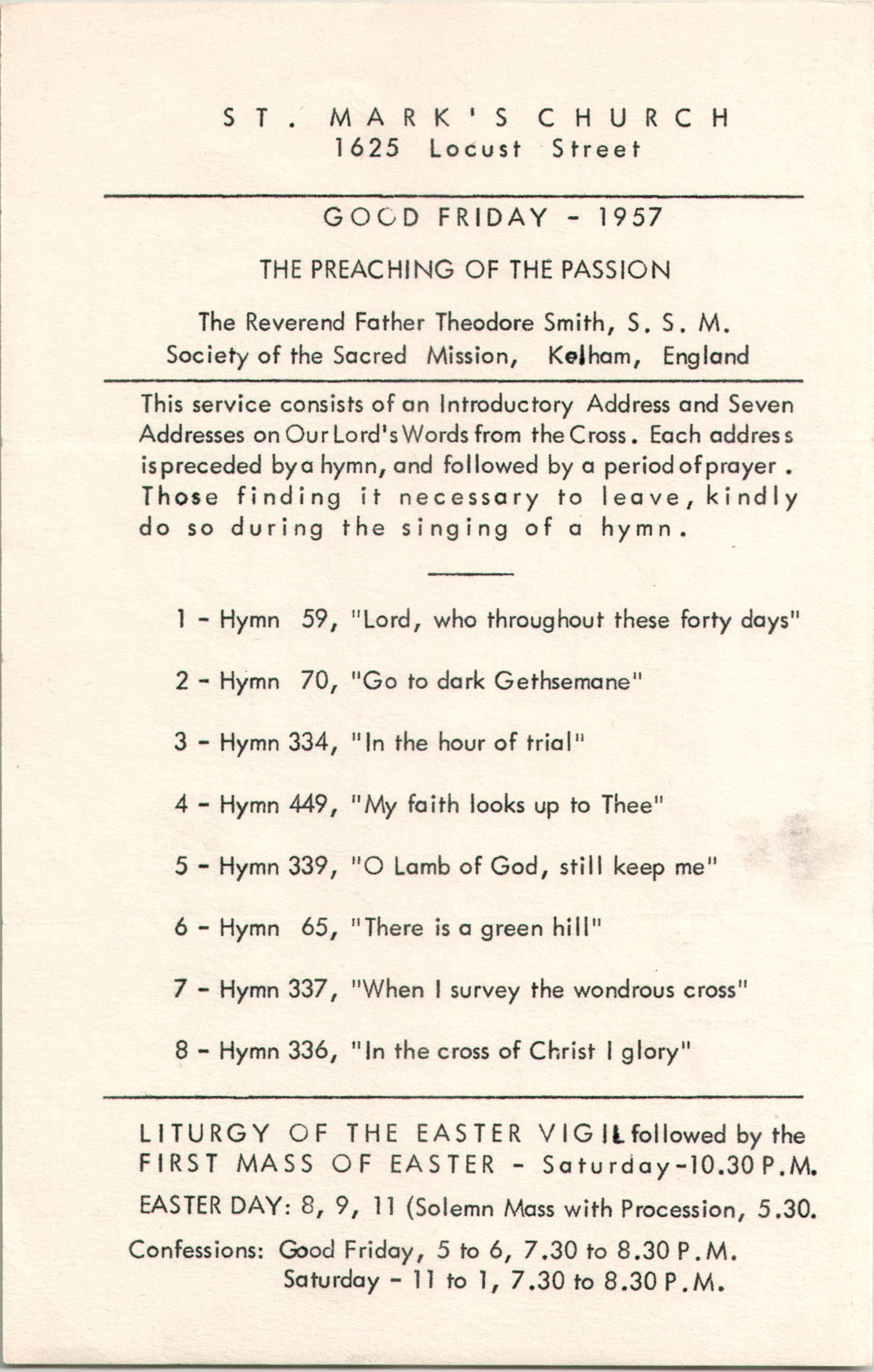 good friday program at st mark s church philadelphia for 1957