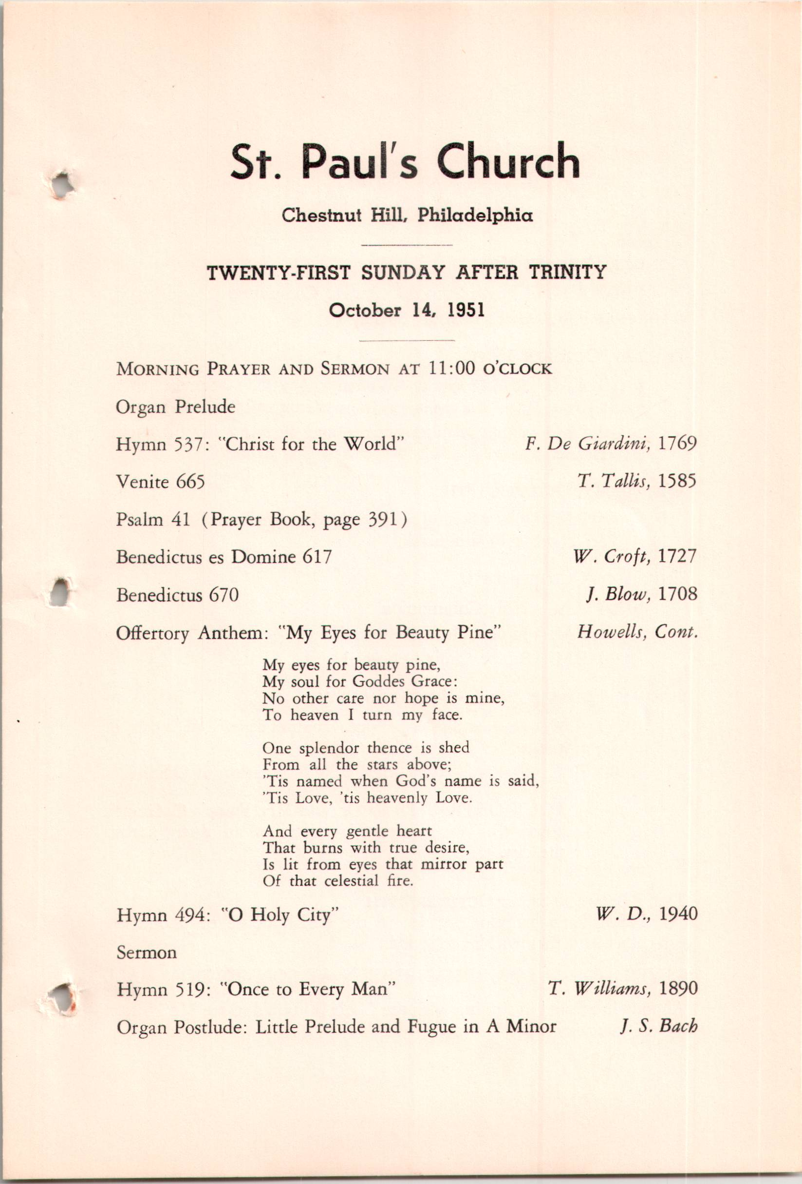 Service Leaflet for the Twenty-First Sunday after Trinity at St  Paul's