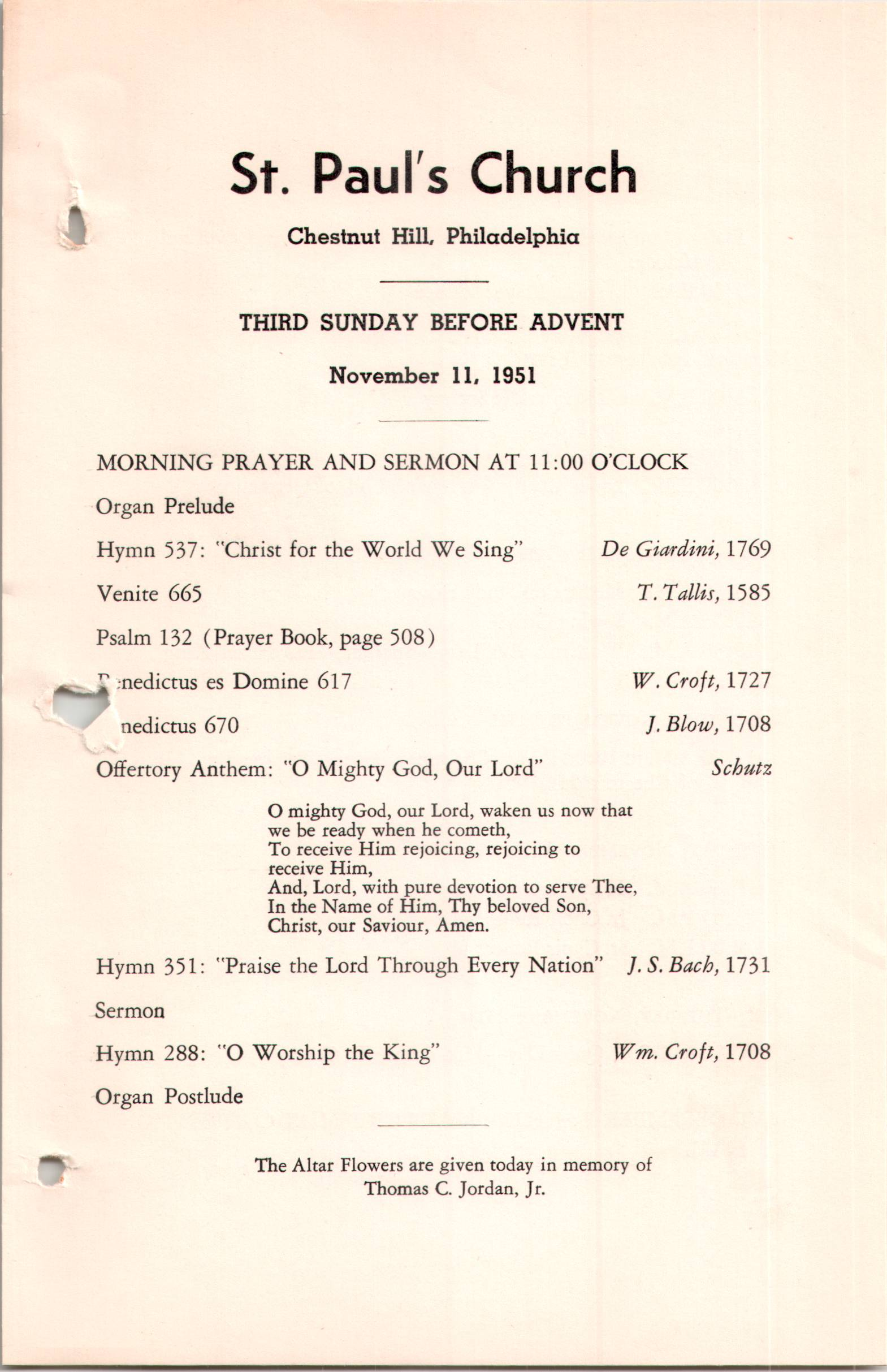 Service Leaflet for the Third Sunday before Advent at St  Paul's