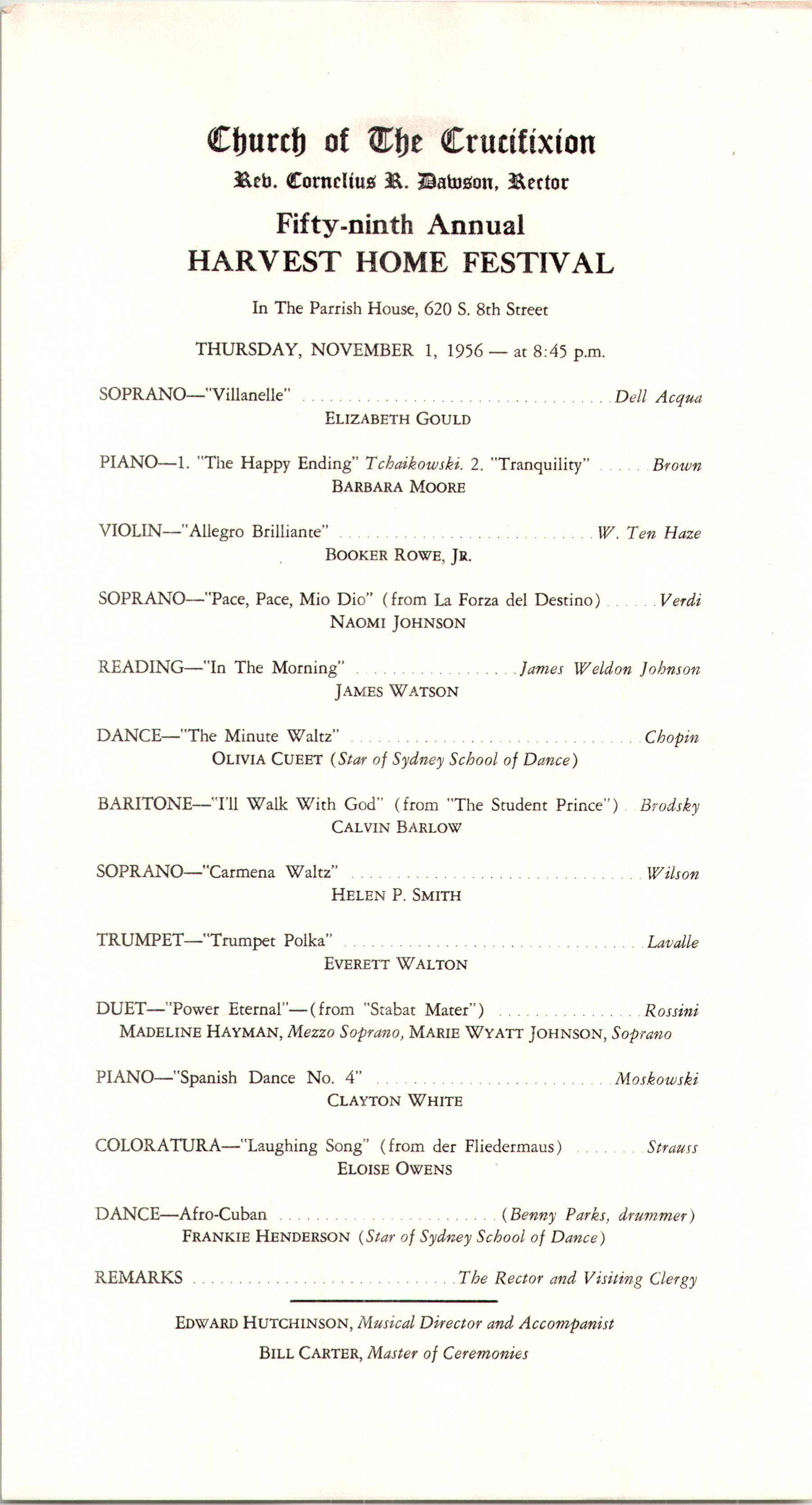 Program for the Fifty-Ninth Annual Harvest Home Festival at Church ...