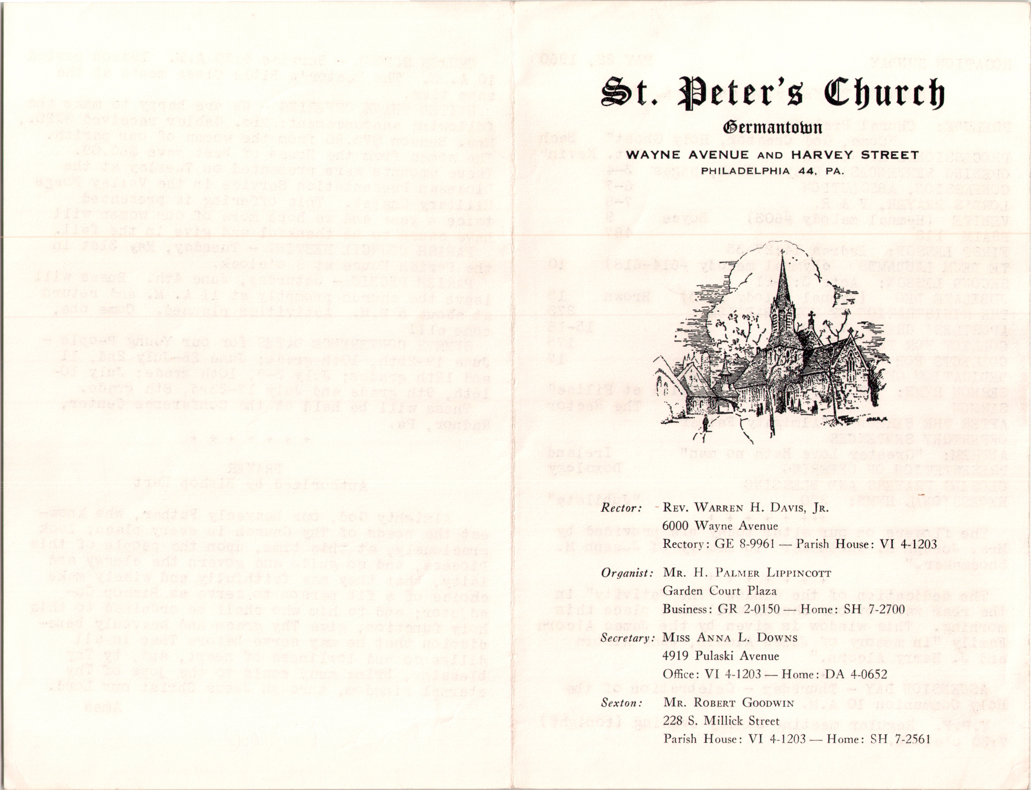 Service Leaflet for the First Sunday after Easter at St. Peter's Church,  Germantown (1961) | Philadelphia Studies
