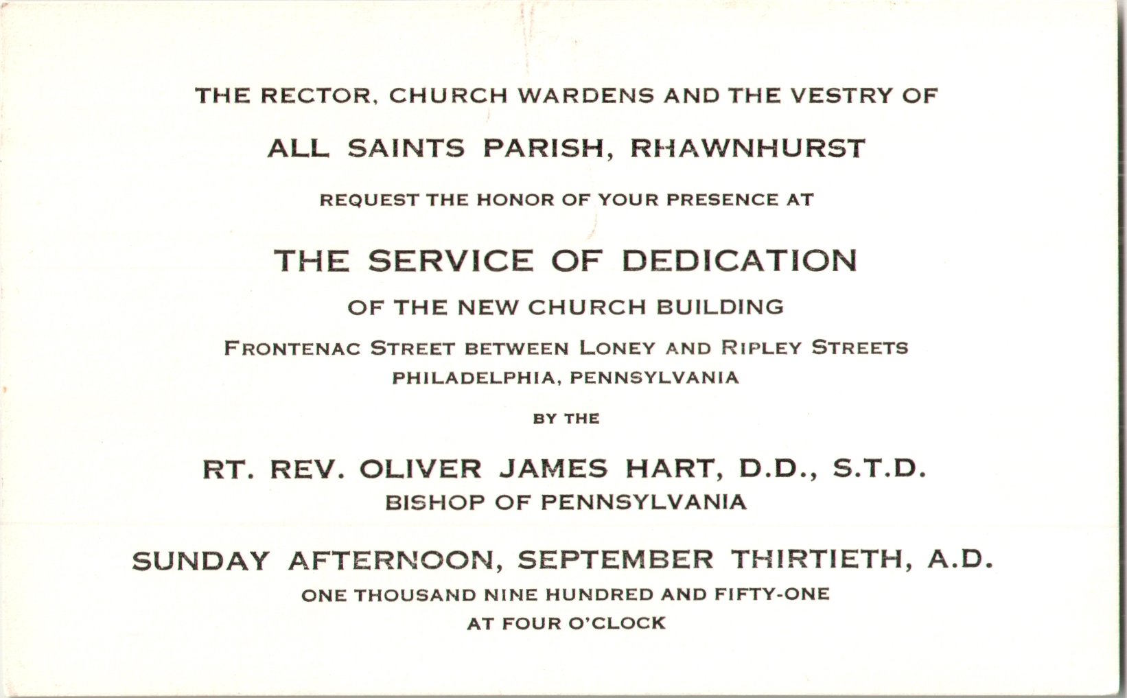 Invitation to the Service of Dedication of the New Church Building