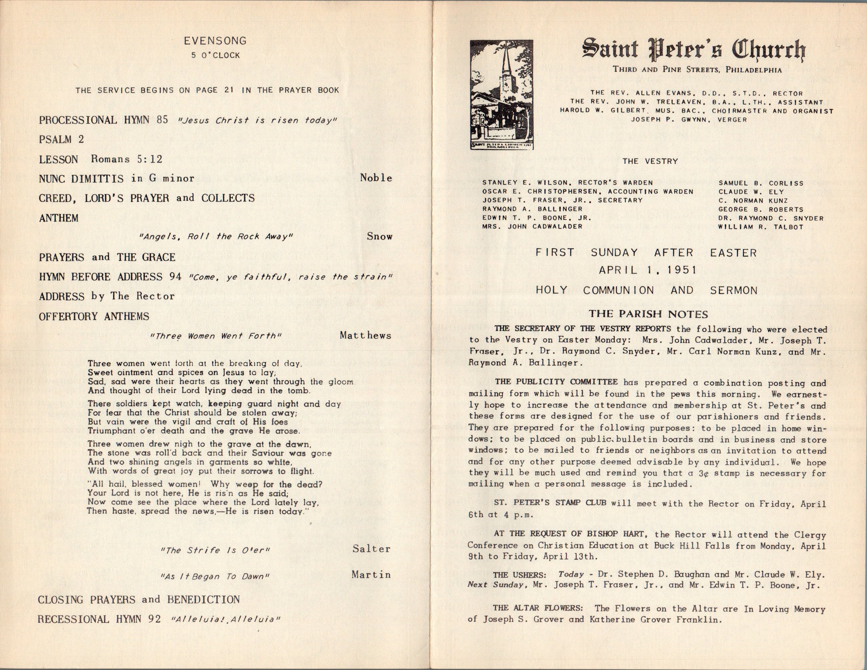 Service Leaflet for the First Sunday after Easter at St. Peter's Church,  Philadelphia (1951)