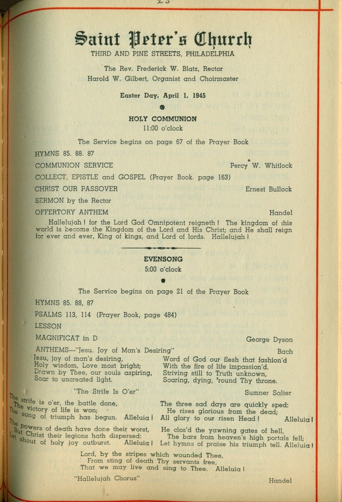 Service Leaflet for Easter Day and the First Sunday after Easter at St.  Peter's Church, Philadelphia (1945) | Philadelphia Studies