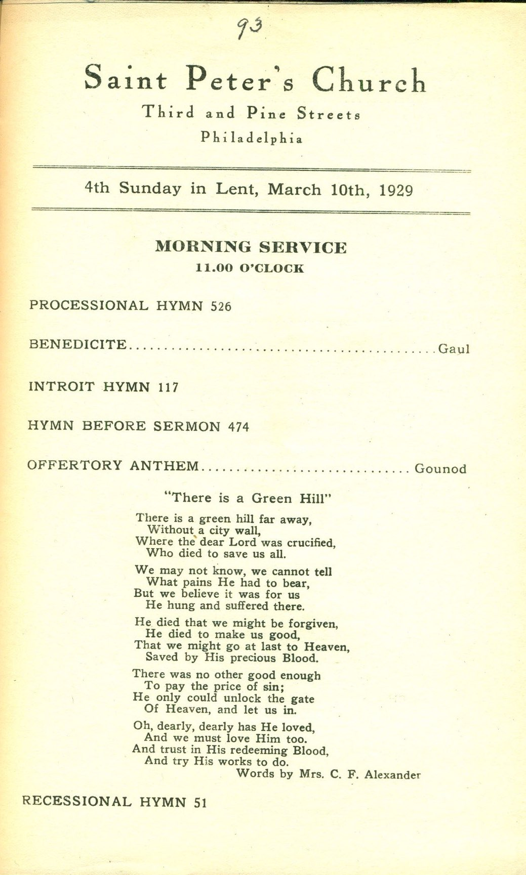 Service Leaflet for the Fourth Sunday in Lent at St  Peter's
